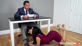 Hot weather presenter Victoria June gives a wonderful blowjob on air