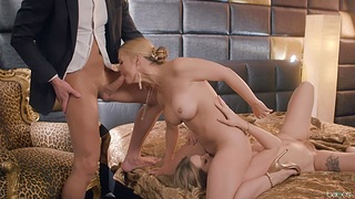 Sexual delight for both chicks in mom-daughter trio