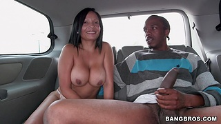 Busty chick Casandra likes effectuation with a black learn of in the car