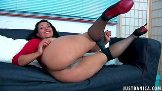Mature slut Danica Collins takes off her nylon pantyhose to play