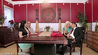 Hardcore foursome scene with lewd milfs Casey Cumz and Nikita Von Jame