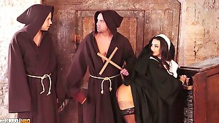 Seductive sinful nun Susy Gala is fucked by two horny monks