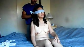 Chinese wife tied up and ready to be fucked with huge dildo