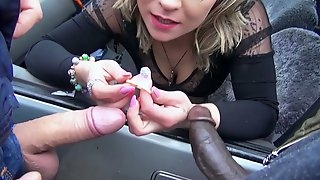 Complete hooker Honey Diamond serves two horny jerks in the car
