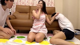 Two studs gets their dicks sucked by cock hungry Risa Shiori