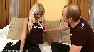 Blondie with puffy nipples Germiona gets her pussy fucked and creampied